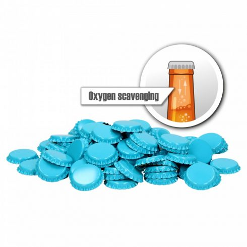 "Crown cap 26mm 100pcs Oxygen scavenging ""blue"""